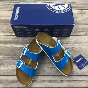 New Birkenstock Arizona Sandals in Neon Blue
